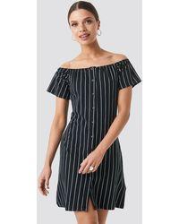 Trendyol Yol Striped Mini Dress - Noir
