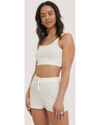 NA-KD Offwhite Ribbed Lounge Cropped Shorts - Multicolour