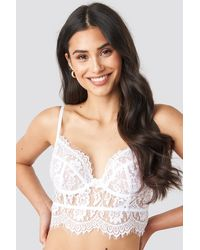 NA-KD Raw Edge Lace Bustier - Wit
