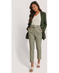 NA-KD Green Belted Pu Trousers