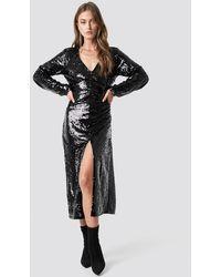 NA-KD V-neck Sequins Midi Dress - Zwart