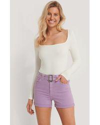 NA-KD Purple Belted Denim Shorts