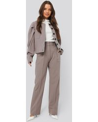 NA-KD Creased High Rise Suit Pants - Marron