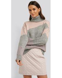 NA-KD Split Colour Chunky Polo Sweater - Grijs