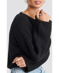 NA-KD Cropped Boat Neck Knitted Sweater - Schwarz