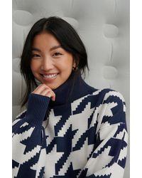 NA-KD Rianne Meijer X Gebreide Sweater Met Hoge Halslijn - Blauw