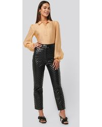 NA-KD Quilted Pu Pants Black
