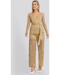 NA-KD Gold Sequin Straight Pant - Metallic