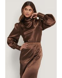NA-KD Brown Satin Draped Blouse