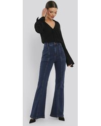 NA-KD Trend High Waist Front Seam Flare Jeans - Blau