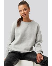 NA-KD Long Sleeve Crew Neck Sweatshirt Gray