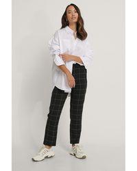 NA-KD Black Elastic Waist Check Pants