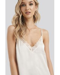 NA-KD Satin Lace Edge Night Dress White
