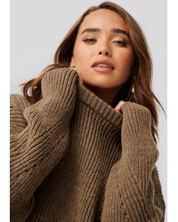 NA-KD Wool Blend Pointelle Stitch Sweater - Bruin