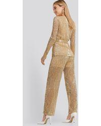NA-KD Sequin Straight Pant - Metallic