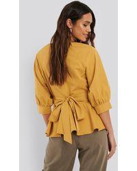 NA-KD Bluse Mit Weiten Ärmeln - Gelb