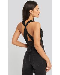 NA-KD Mesh Cross Back Body - Zwart