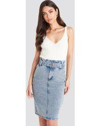Trendyol Belted Midi Denim Skirt - Blauw