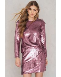 Glamorous - Frill Sequin Skirt Pink Sequin - Lyst
