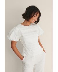 NA-KD White Puff Sleeve Blouse