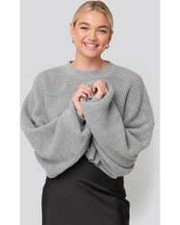NA-KD Gray Cropped Waffle Knit Sweater