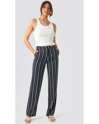 NA-KD Wide Striped Suit Pants - Blauw