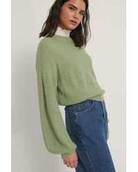 NA-KD Green Balloon Sleeve Knitted Cropped Jumper