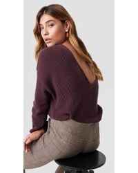 NA-KD - Knitted Deep V-neck Sweater Burgundy - Lyst