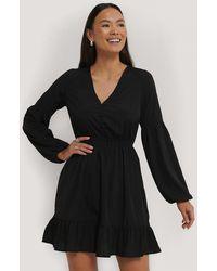 NA-KD Black Balloon Sleeve Mini Dress