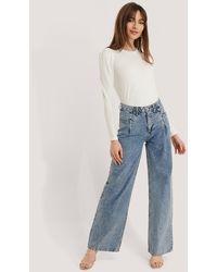 Trendyol Pantalon Jambe Large Et Taille Haute - Bleu