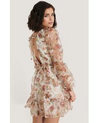NA-KD Multicolour Open Back Flower Printed Organza Dress