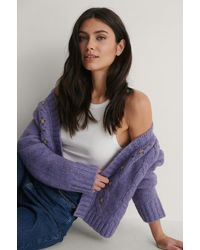 NA-KD Purple Flower Embroidery Knitted Cardigan