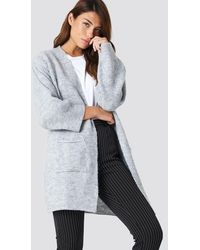 NA-KD Gray Front Pocket Knitted Cardigan - Multicolor