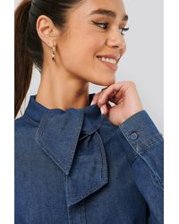 NA-KD Tied Collar Denim Shirt - Blauw