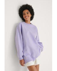 NA-KD Organisch Oversized Geborsteld Sweatshirt - Paars