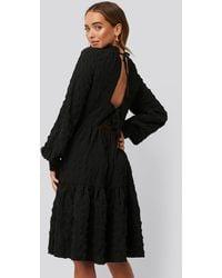 NA-KD Structured Open Back Dress - Zwart