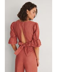 NA-KD Pink Linen Tie Back Top - Red