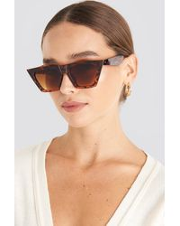 NA-KD Sharp Square Cateye Sunglasses - Bruin