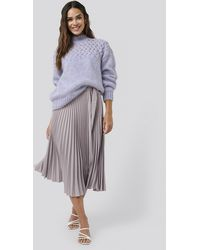NA-KD Belted Pleated Skirt - Paars