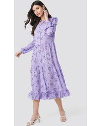 NA-KD Long Sleeve Front Button Ankle Dress - Violet