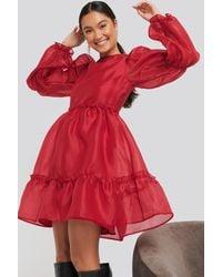 NA-KD Organza Puff Sleeve Dress Red