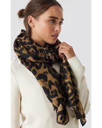 NA-KD Woven Leopard Print Scarf - Bruin