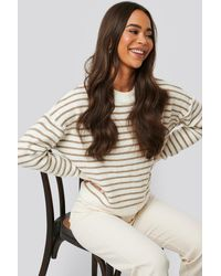 NA-KD Striped Round Neck Knitted Sweater - Wit