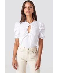 NA-KD Trend Short Puff Sleeve Keyhole Front Blouse - Weiß