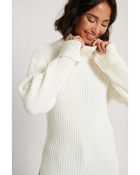 NA-KD White Ribbed Knitted Turtleneck Side Slit Jumper