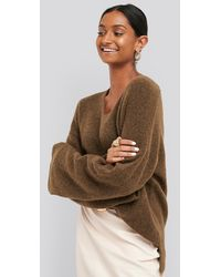 NA-KD Alpaca Knitted V-neck Sweater - Bruin