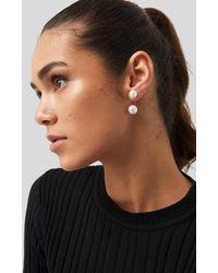 NA-KD Double Pearl Earrings White - Metallic