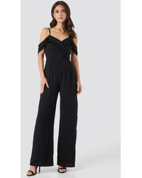 Trendyol Thin Strap Flywheel Detailed Jumpsuit - Zwart