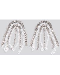 NA-KD Accessories Multi Rhinestone Pearl Drop Earrings - Mettallic