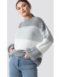 NA-KD Color Striped Balloon Sleeve Knitted Sweater - Grijs